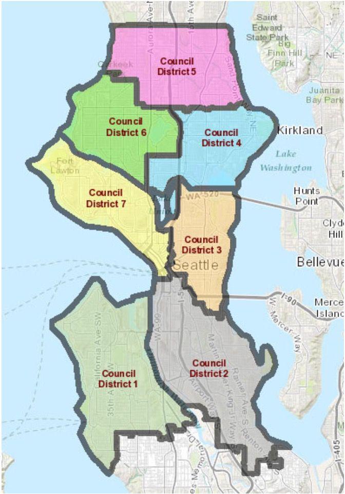 Seattle Council District map