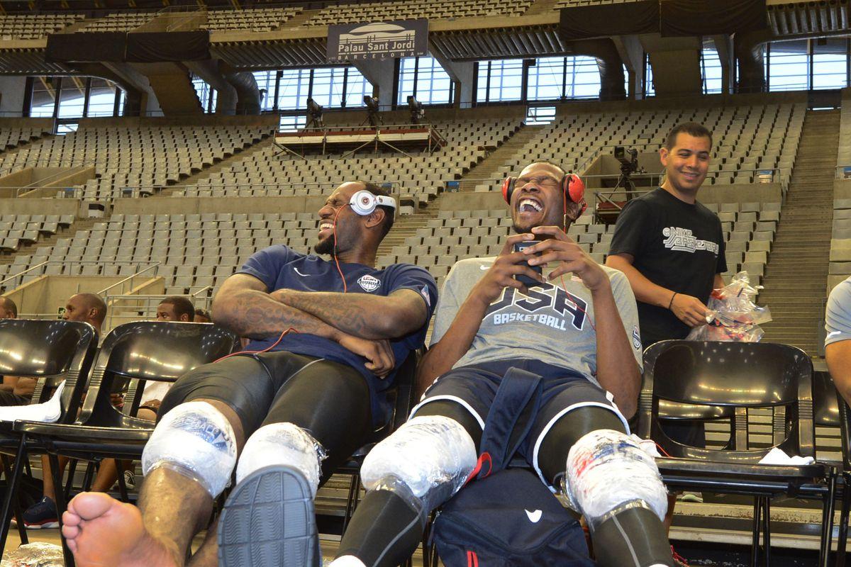 July 23, 2012; Barcelona, SPAIN; USA forward Lebron James (6) and guard Kevin Durant (5) after practice at Palau Sant Jordi.  Mandatory Credit: Bob Donnan-US PRESSWIRE