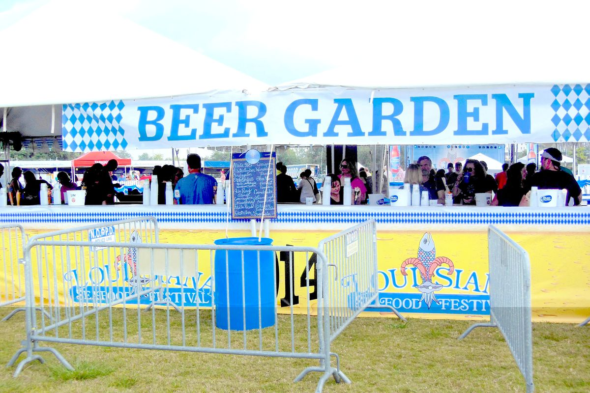 The beer garden at the Louisiana Seafood Festival