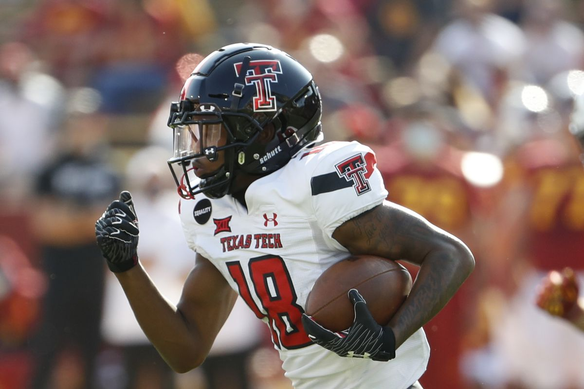 Wide receiver Myles Price of the Texas Tech Red Raiders rushes for yards in the first half of the play at Jack Trice Stadium on October 10, 2020 in Ames, Iowa.