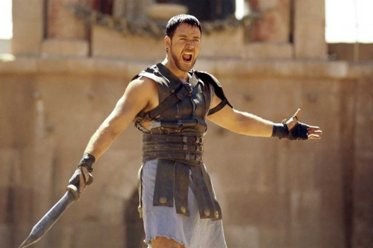 Russell Crowe in Gladiator shouting at a Coliseum full of people