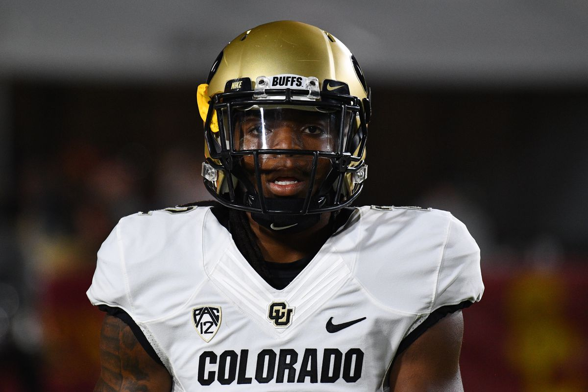Colorado Laviska Shenault Jr. looks on during a college football game between the Colorado Buffaloes and the USC Trojans on October 13, 2018, at Los Angeles Memorial Coliseum in Los Angeles, CA.