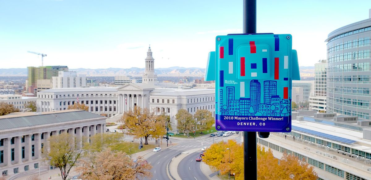 A painted air quality sensor photo tweeted out by the city of Denver to promote the Bloomberg Mayor's Challenge grant award, which will help fund the installation of 40 sensors at 40 schools by 2021.