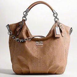 "Coach Spring '11: <a href=""http://www.coach.com/online/handbags/-handbags_silhouettes_crossbody-10551-10051-5000000000000015030-en?t1Id=62&t2Id=5000000000000015030&tier=2&LOC=CC"" rel=""nofollow"">Madison</a> Embossed Python Large Shoulder Bag in"