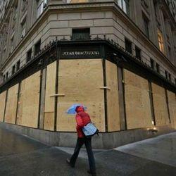 """Boarded up Saks Fifth Avenue via <a href=""""https://twitter.com/BinkleyOnStyle/status/263137401268994049"""">@BinkleyOnStyle</a>/Twitter"""