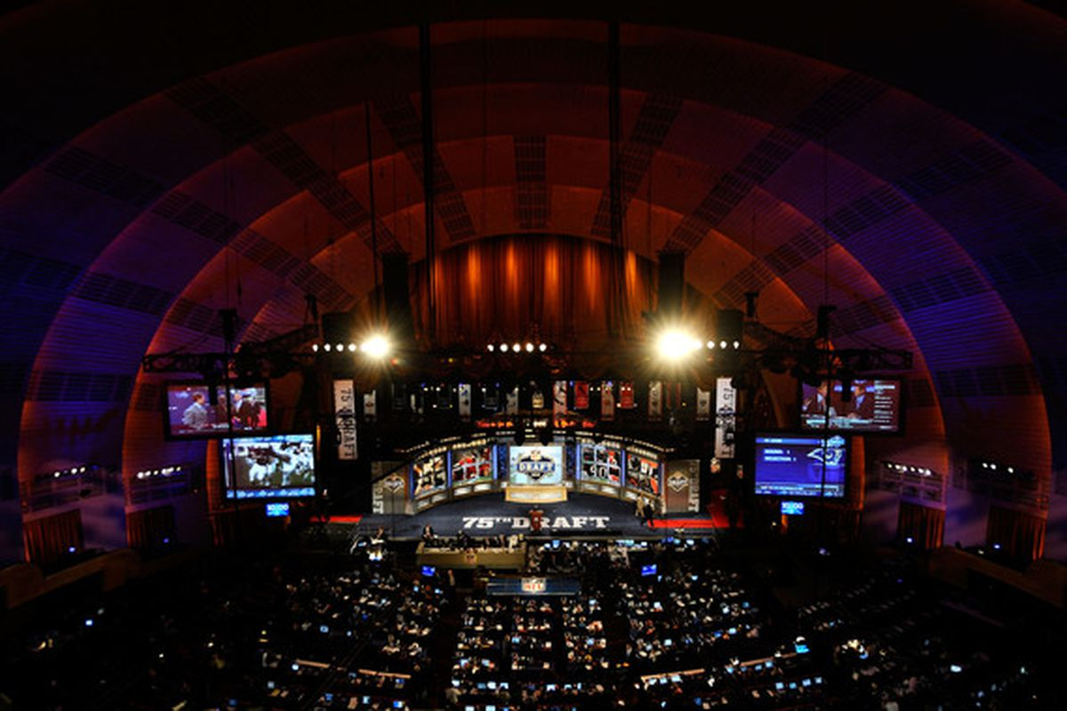 NEW YORK - APRIL 22:  A general view of the stage during the 2010 NFL Draft at Radio City Music Hall on April 25, 2009 in New York City.  (Photo by Jeff Zelevansky/Getty Images)