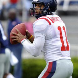 Mississippi quarterback Barry Brunetti looks to pass during their annual spring NCAA college football game in Oxford, Miss. on Saturday, April 21, 2012.
