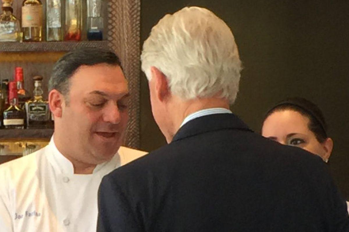 Chef Joe Farina and Bill Clinton at Joe Fish in 2015