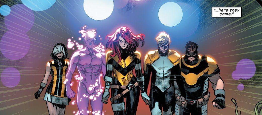 LtR: Mutants Eva Bell/Tempus, Kevin MacTaggert/Proteus, Hope Summers/Hope, Joshua Foley/Elixir, and Fabio Medina/Goldballs — also known as the Five, in House of X #5, Marvel Comics (2019).