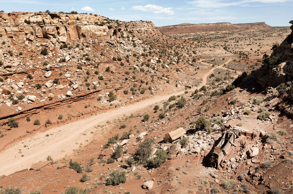 A mining shoot is pictured in the Colt Mesa area of the former Grand Staircase-Escalante National Monument on Friday, May 14, 2021. The land across the road from the mine is part of the national monument.