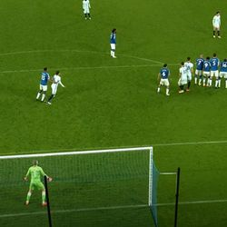 Pickford is in a good starting position here with his wall covering his right