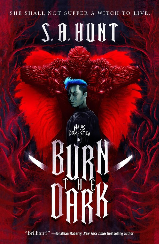 a boy with blue hair stands in front of a blood rose monster in the cover for burn the dark