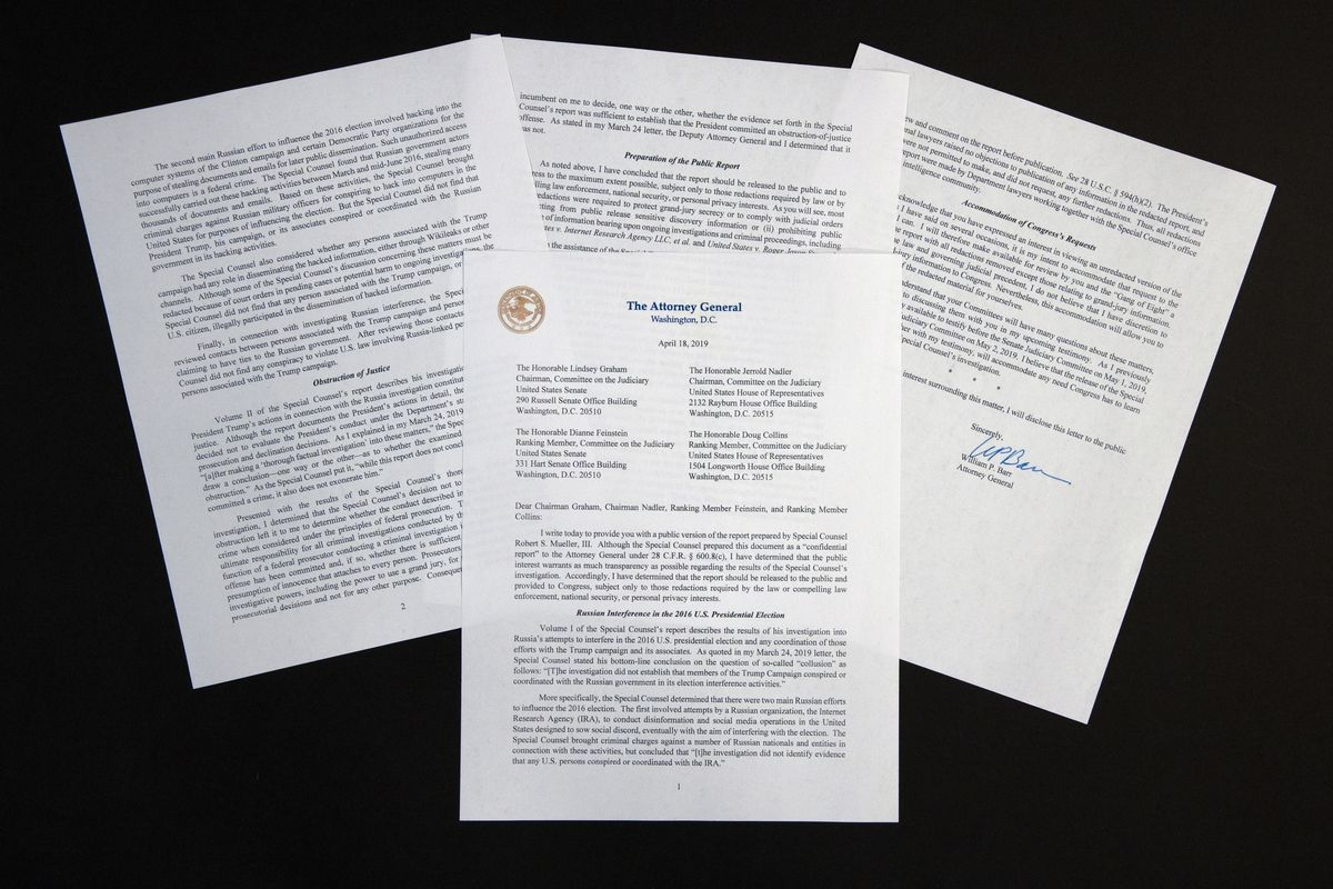 The four-page letter from Attorney General William Barr regarding special counsel Robert Mueller's redacted report is photographed Thursday, April 18, 2019, in Washington. (AP Photo/Jon Elswick)