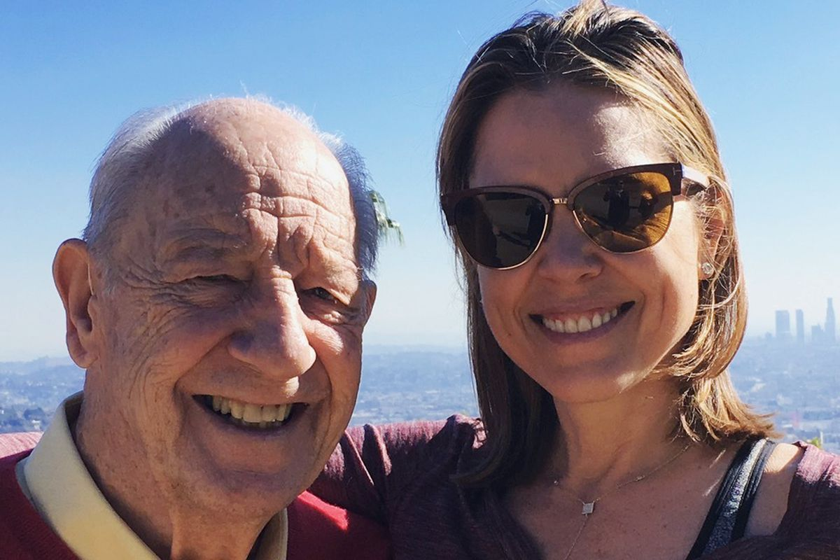 Hannah Storm poses for a photo with her father, Mike Storen, in 2015. Storen, a former ABA commissioner died Thursday, May 7, 2020. He was 84.