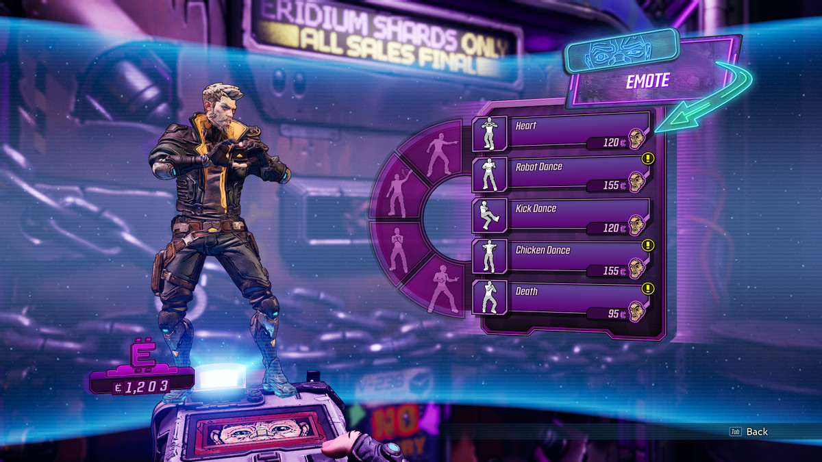 A menu with several emotes with different Eridium prices next to them.