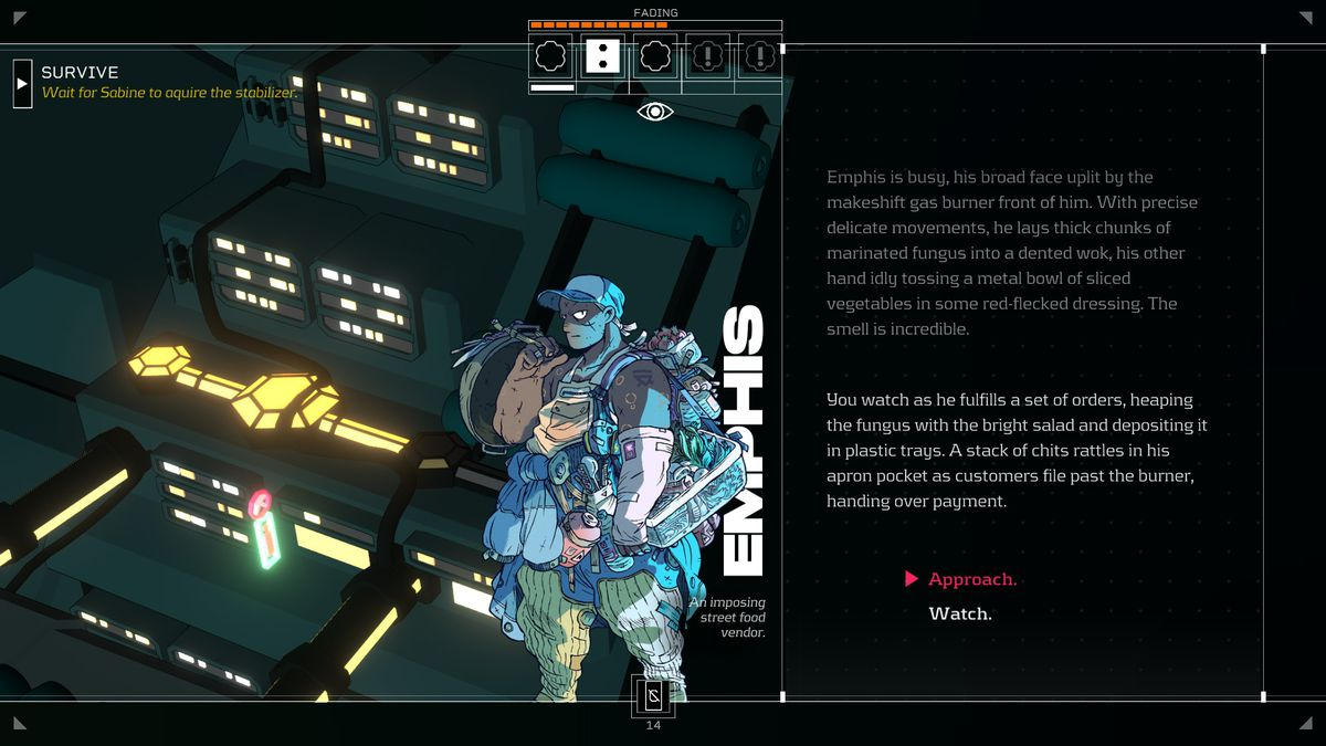 A scene of Citizen Sleeper's text-based conversation system
