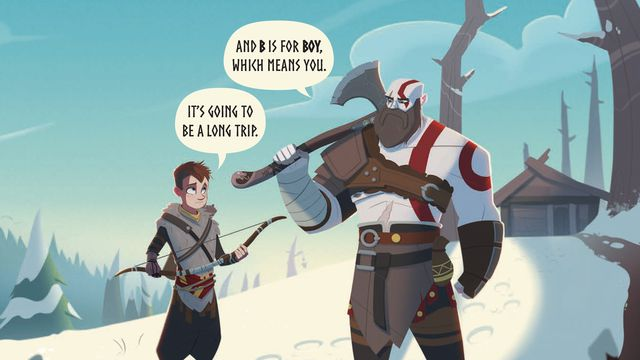Artwork of Kratos and Atreus speaking in a page from God of War: B is for Boy
