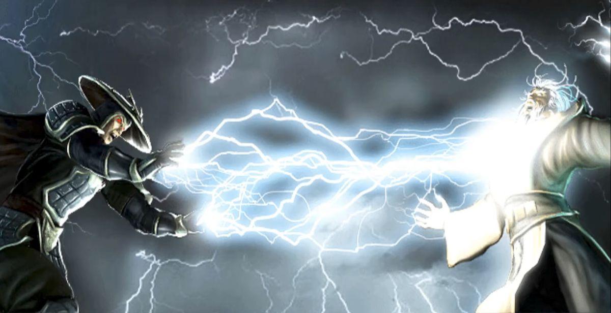 Raiden ataca Shujinko no final do deus do trovão em Mortal Kombat: Deception