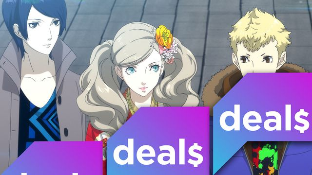 A Persona 5 Royal screenshot overlaid with the Polygon Deals logo
