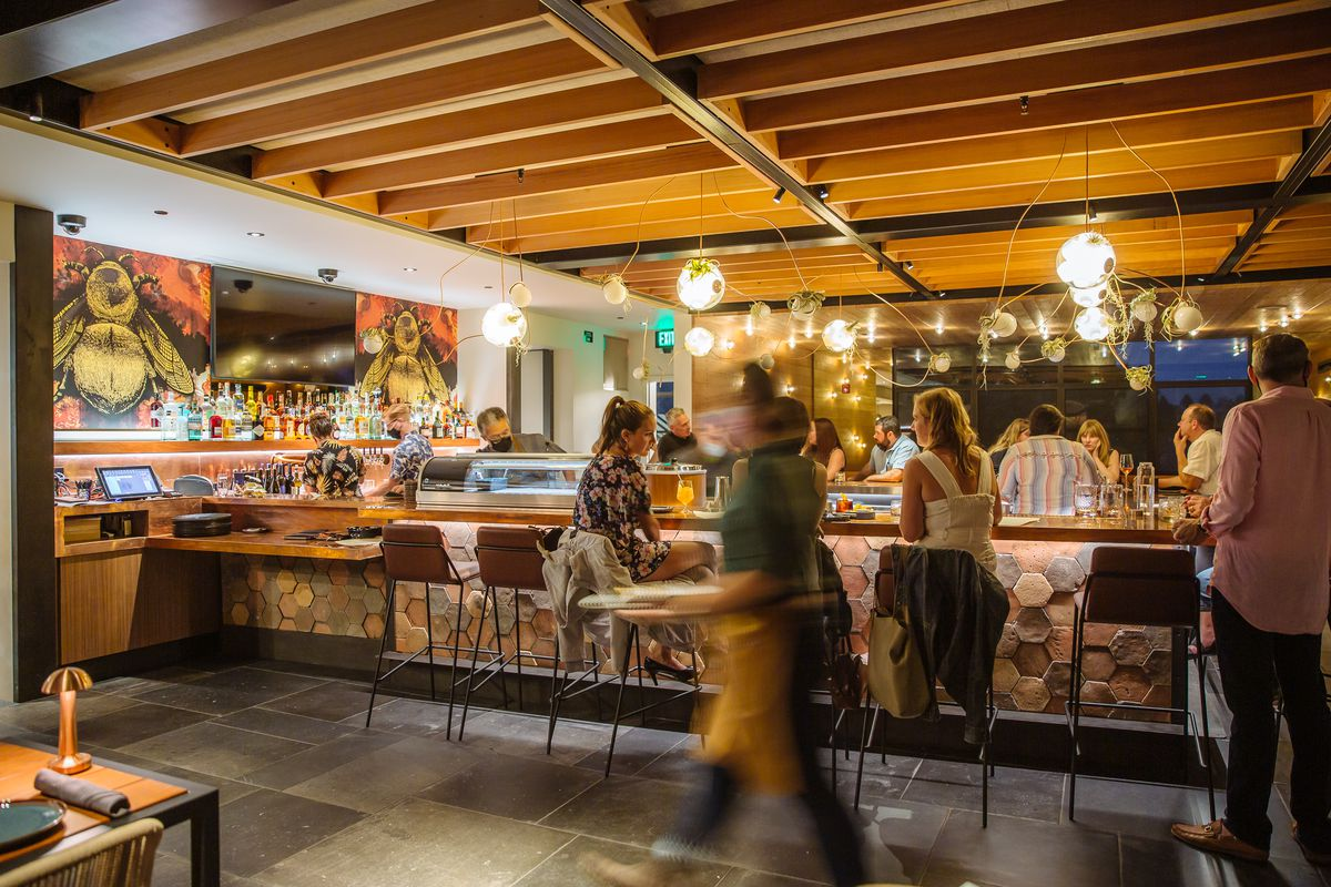 Inside the Roof 106 bar where the design is inspired by a beehive