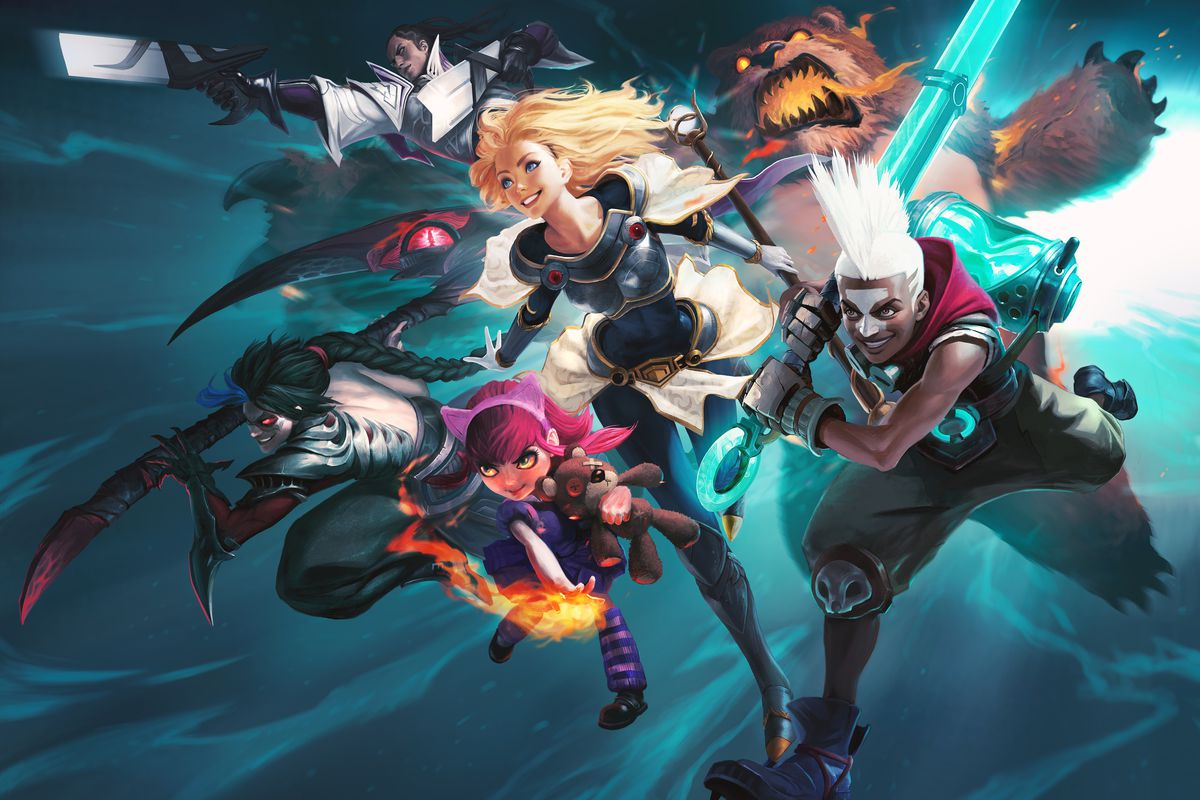 Several League of Legends charge ahead against a blue background