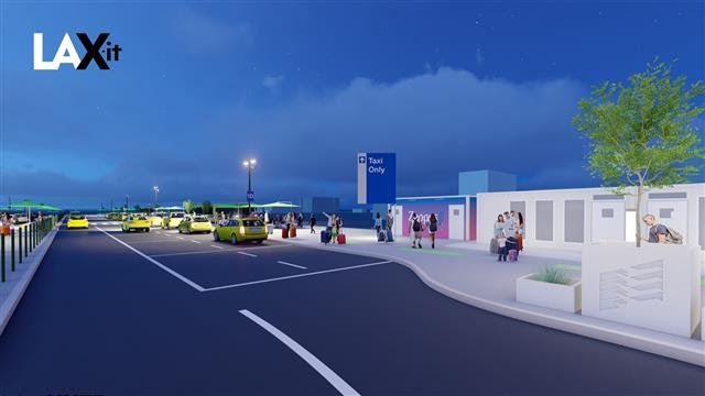 A rendering of cars pulling up to a curb. There is lots of empty space for more cars to pick up.