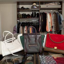 Céline Phantom tote, Luggage tote and Trapeze bag, $2,500-$3,900.