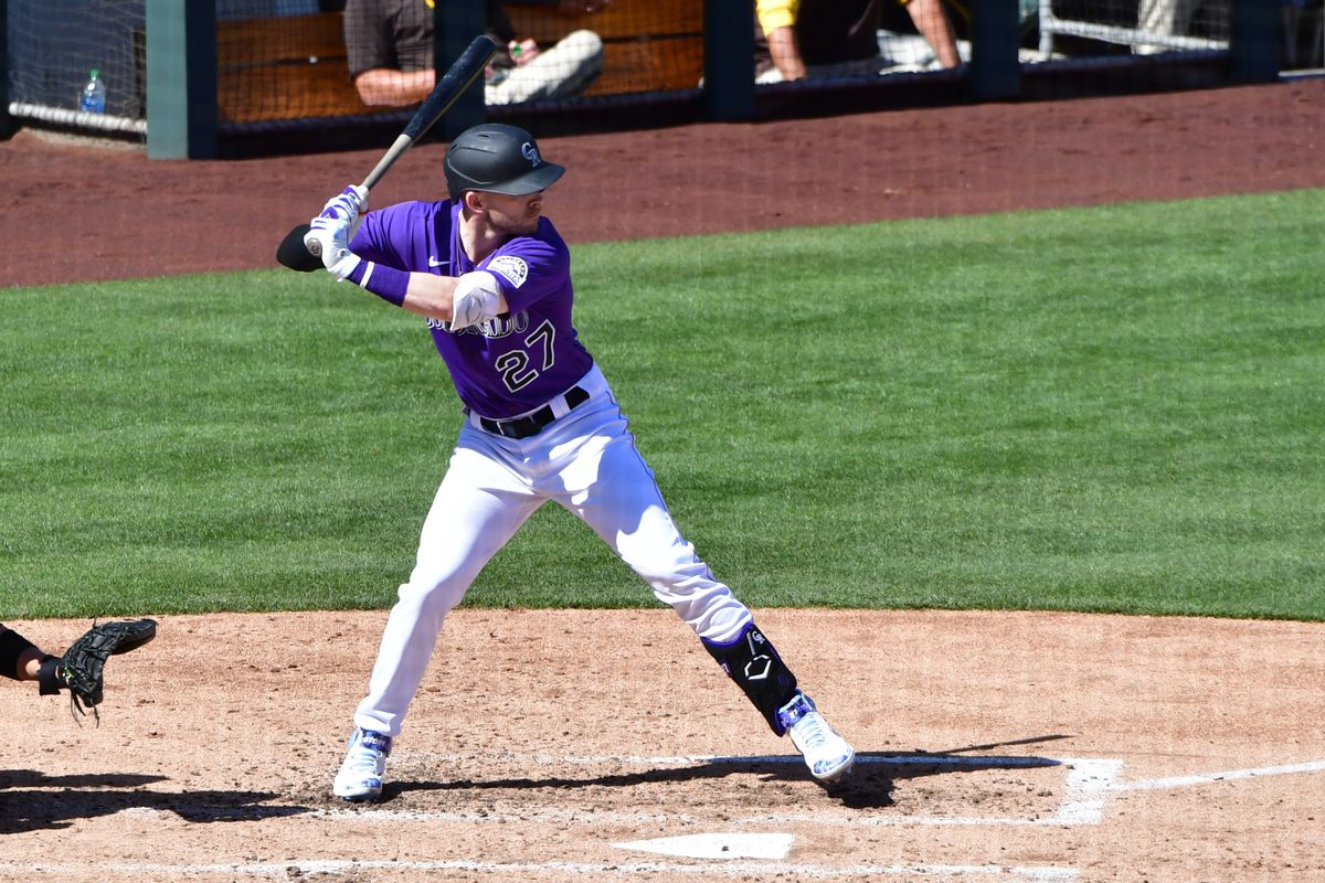 Colorado Rockies shortstop Trevor Story (27) at bat in the third inning against the San Diego Padres during a spring training game at Salt River Fields at Talking Stick.