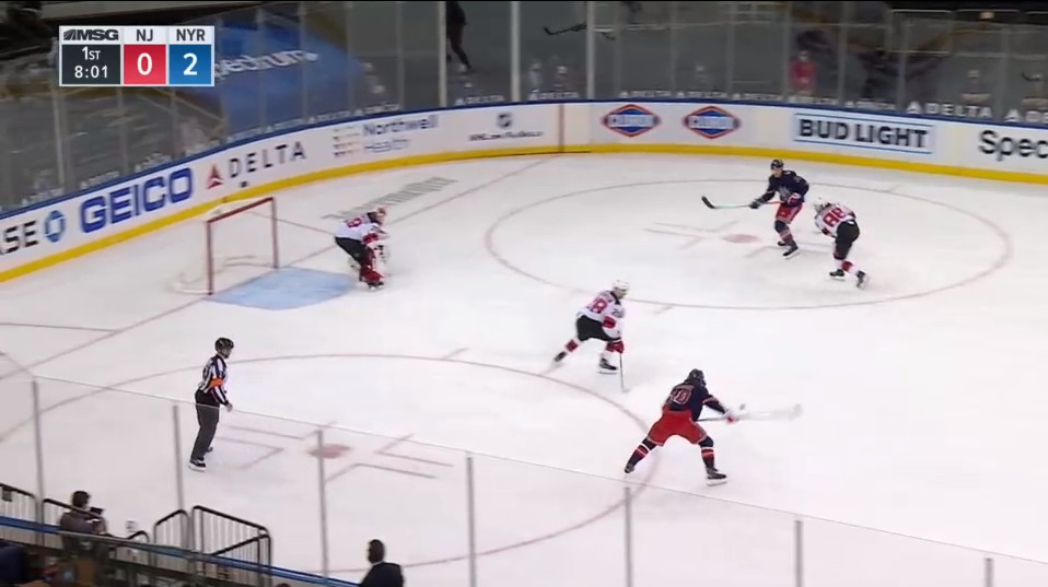 April 13: A turnover on offense from Jack Hughes up high in the zone yielded this 2-on-1. Damon Severson and his 470+ NHL games of experience covers no one on it.  He also got surprised by Artemi Panarin stopping here for this one-timer that will go in.