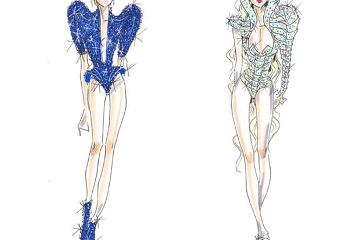 "Images via <a href=""http://www.wwd.com/fashion-news/fashion-scoops/foxy-lady-gaga-to-wear-armani-and-prada-on-tour-2507206?module=today#"">WWD</a>"