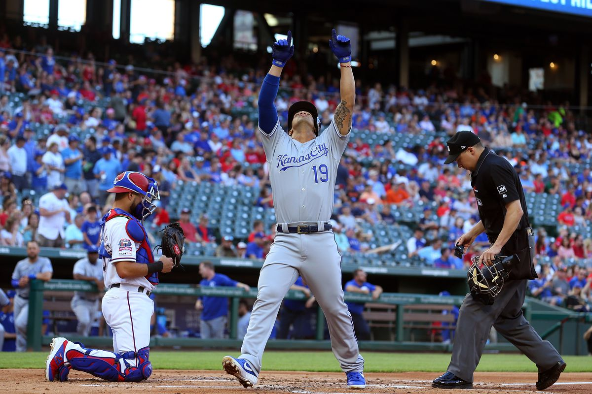 Cheslor Cuthbert #19 of the Kansas City Royals gestures after crossing the plate after a solo home run against the Texas Rangers in the second inning at Globe Life Park in Arlington on May 31, 2019 in Arlington, Texas.