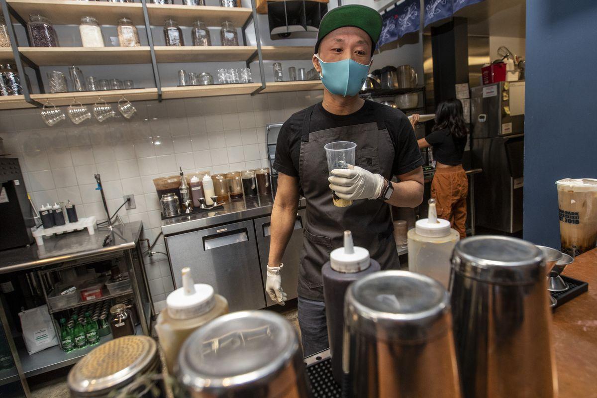Christopher Kwok at his Echo Park boba shop...