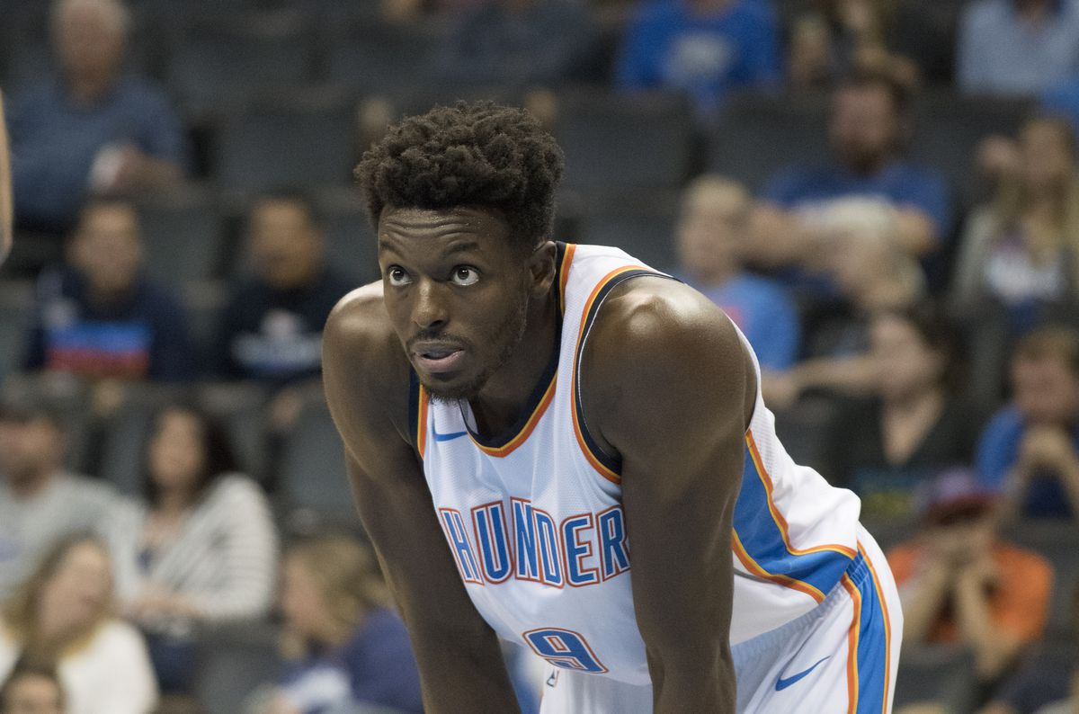 Jerami Grant with his hands on his knees