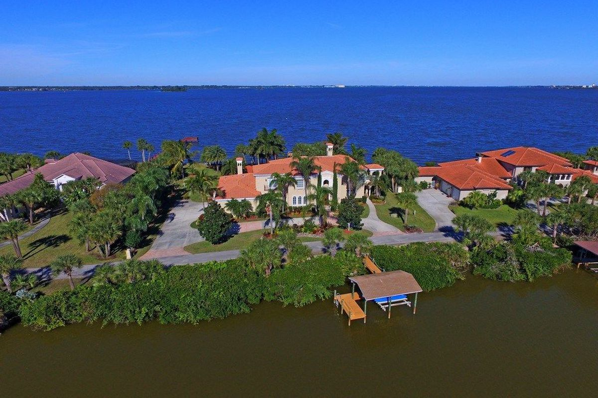 A large waterfront home between the intracoastal and the ocean