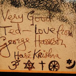 Saratoga Springs resident Ted Gallegos, then a teenager, admired a photograph of George Harrison he saw in a newspaper ad in advance of a Utah concert in 1974. He created a detailed portrait based upon the image and managed to get the ex-Beatle to sign it at the Hotel Utah.