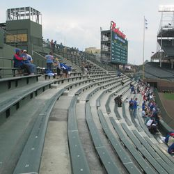 5:24 p.m. The reopened right-field bleachers, viewed from center field -
