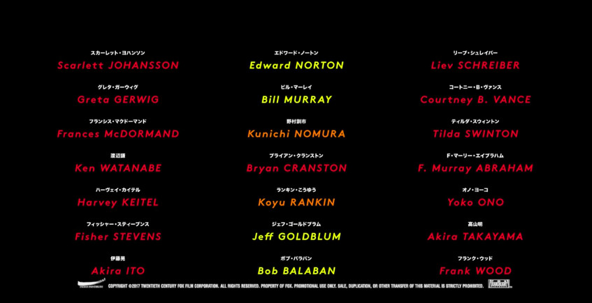 The list of cast names for Isle of Dogs.