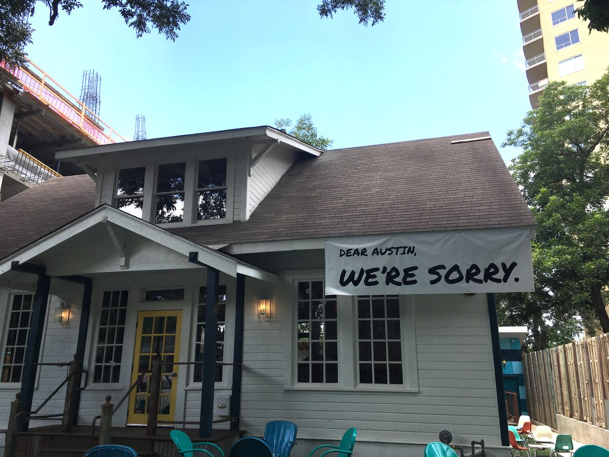 The apology sign in front of Unbarlievable