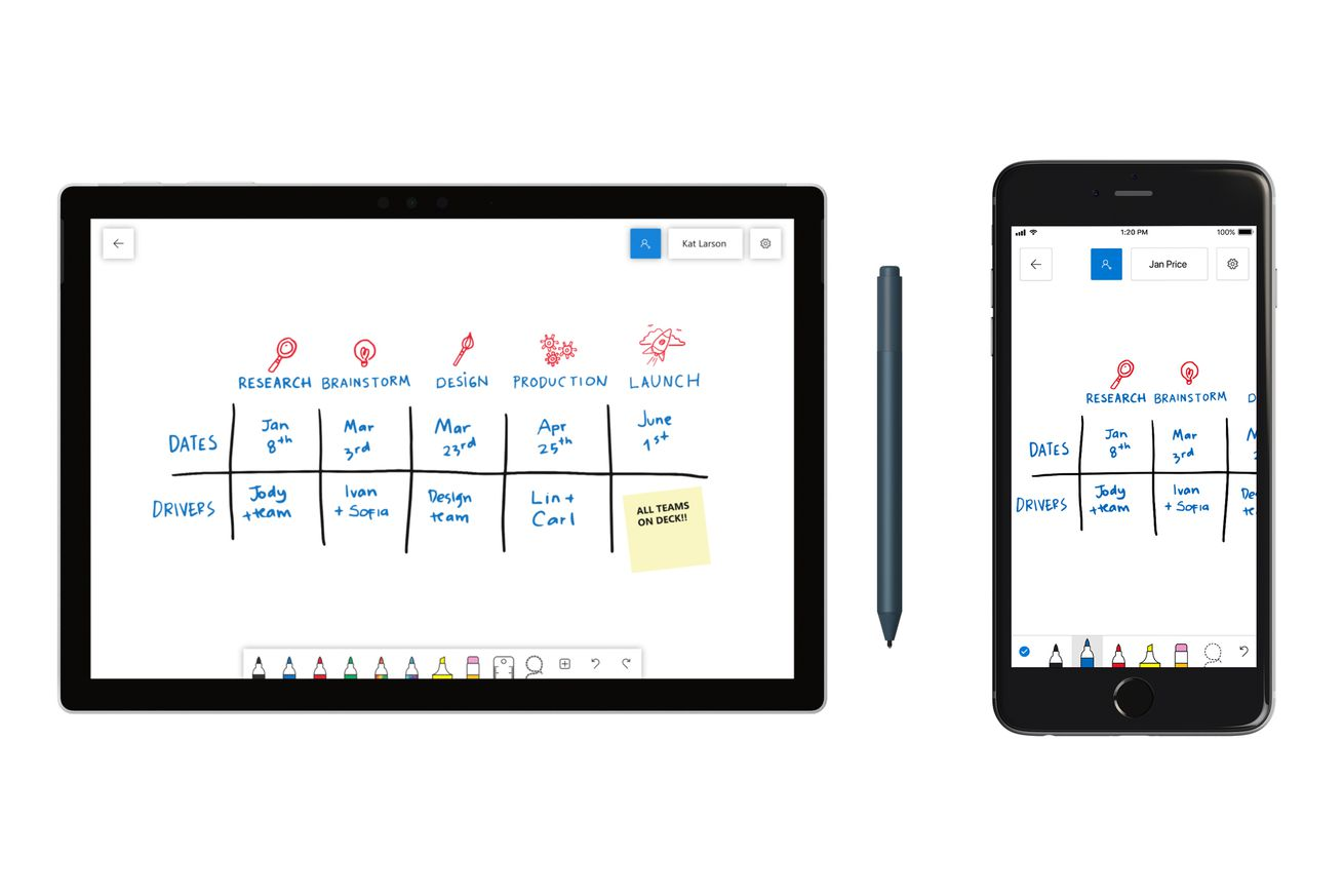 microsoft s collaborative whiteboard app is coming to windows 10 ios and the web