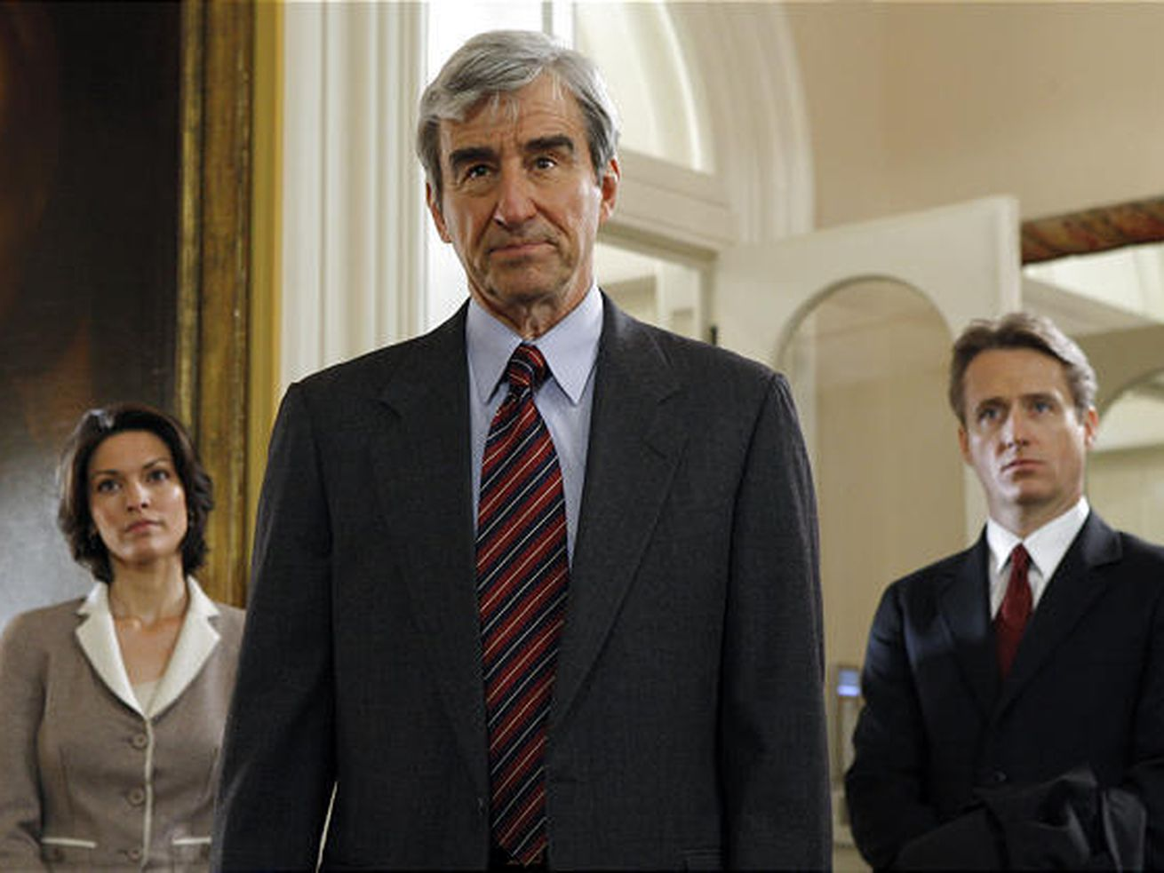 "Alana De La Garza, Sam Waterston and Linus Roache in the 19th-season finale of NBC's ""Law & Order."""