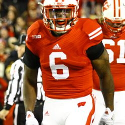 Corey Clement celebrates his go ahead touchdown to put the Badgers up 20-17 in the 3rd quarter