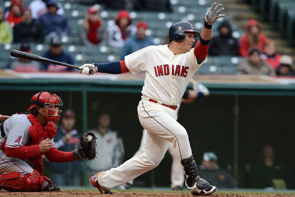 CLEVELAND, OH - APRIL 28: Asdrubal Cabrera #13 of the Cleveland Indians strikes out to end the eighth inning against the Los Angeles Angels of Anaheim at Progressive Field on April 28, 2012 in Cleveland, Ohio. (Photo by Jason Miller/Getty Images)