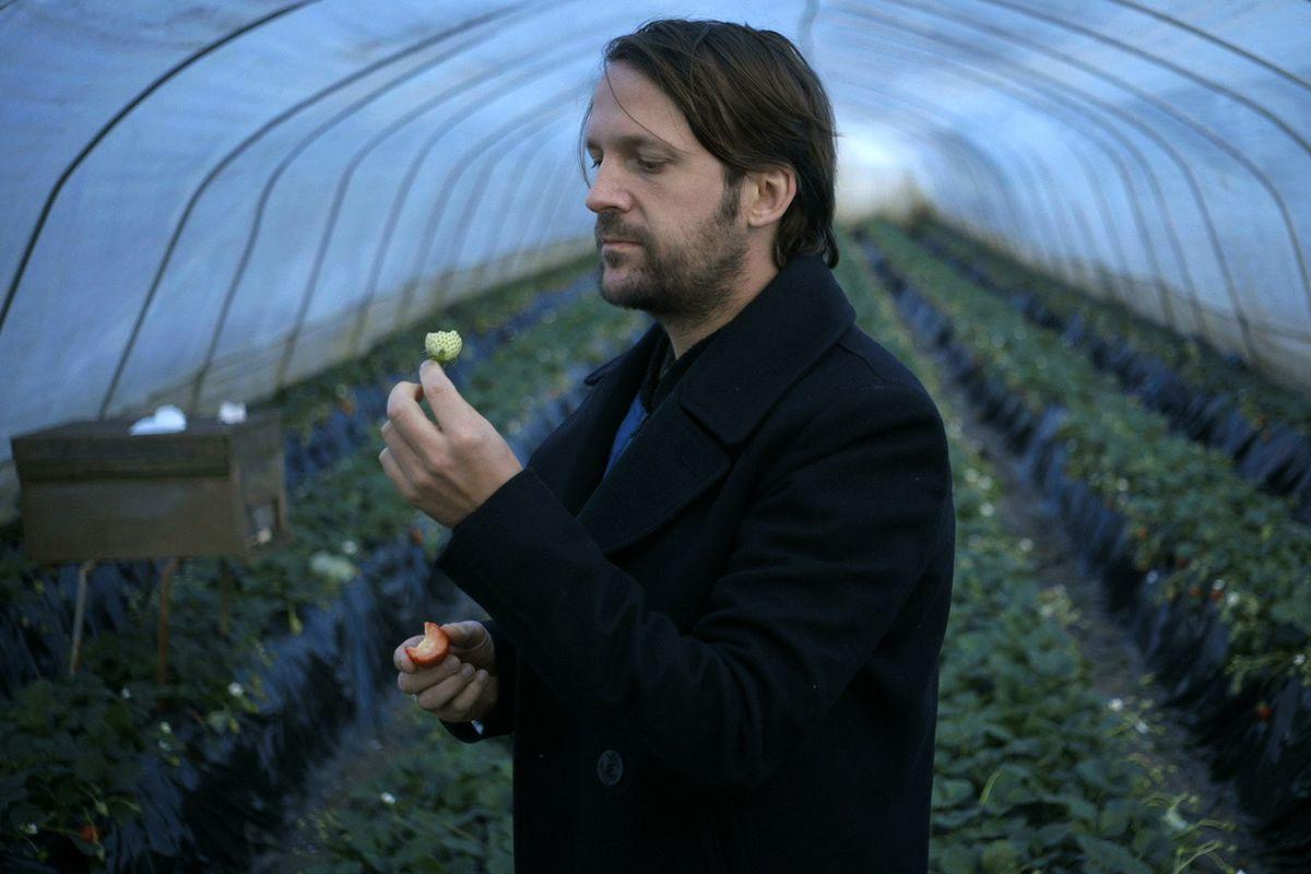 René Redzepi picks a white strawberry