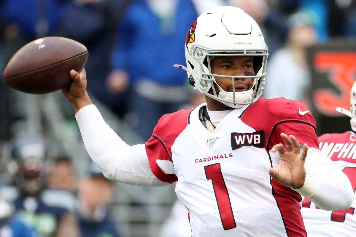 Quarterback Kyler Murray #1 of the Arizona Cardinals drops back to pass against the defense of the Seattle Seahawks during the game at CenturyLink Field on December 22, 2019 in Seattle, Washington