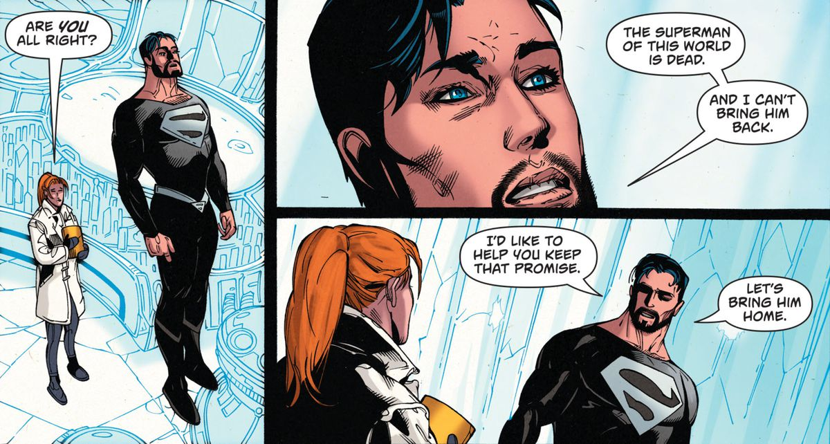 """""""The Superman of this world is dead,"""" says a bearded Superman in a black and white costume, floating in the Fortress of Solitude, """"and I can't bring him back,"""" in Superman #1 (2016)."""