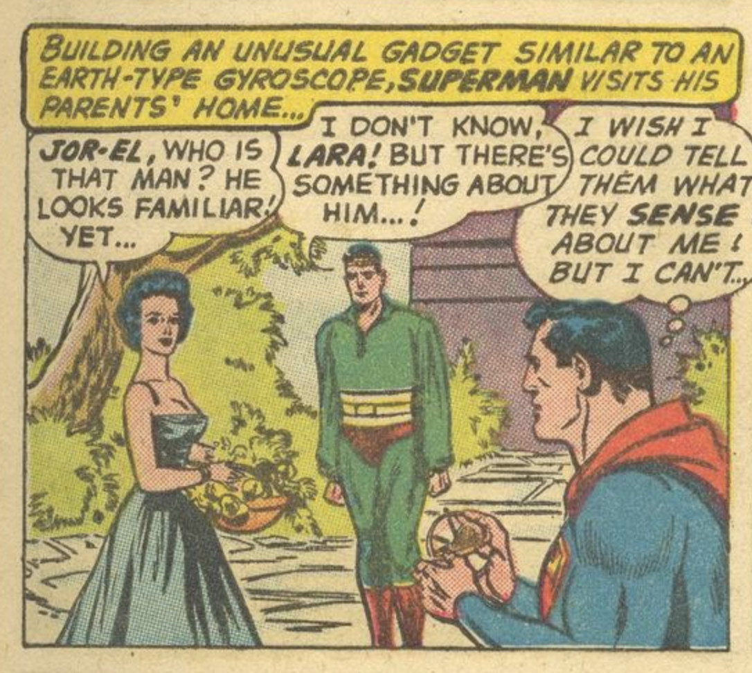 Superman's parents think he's weirdly familiar in Superman #141, DC Comics (1960).
