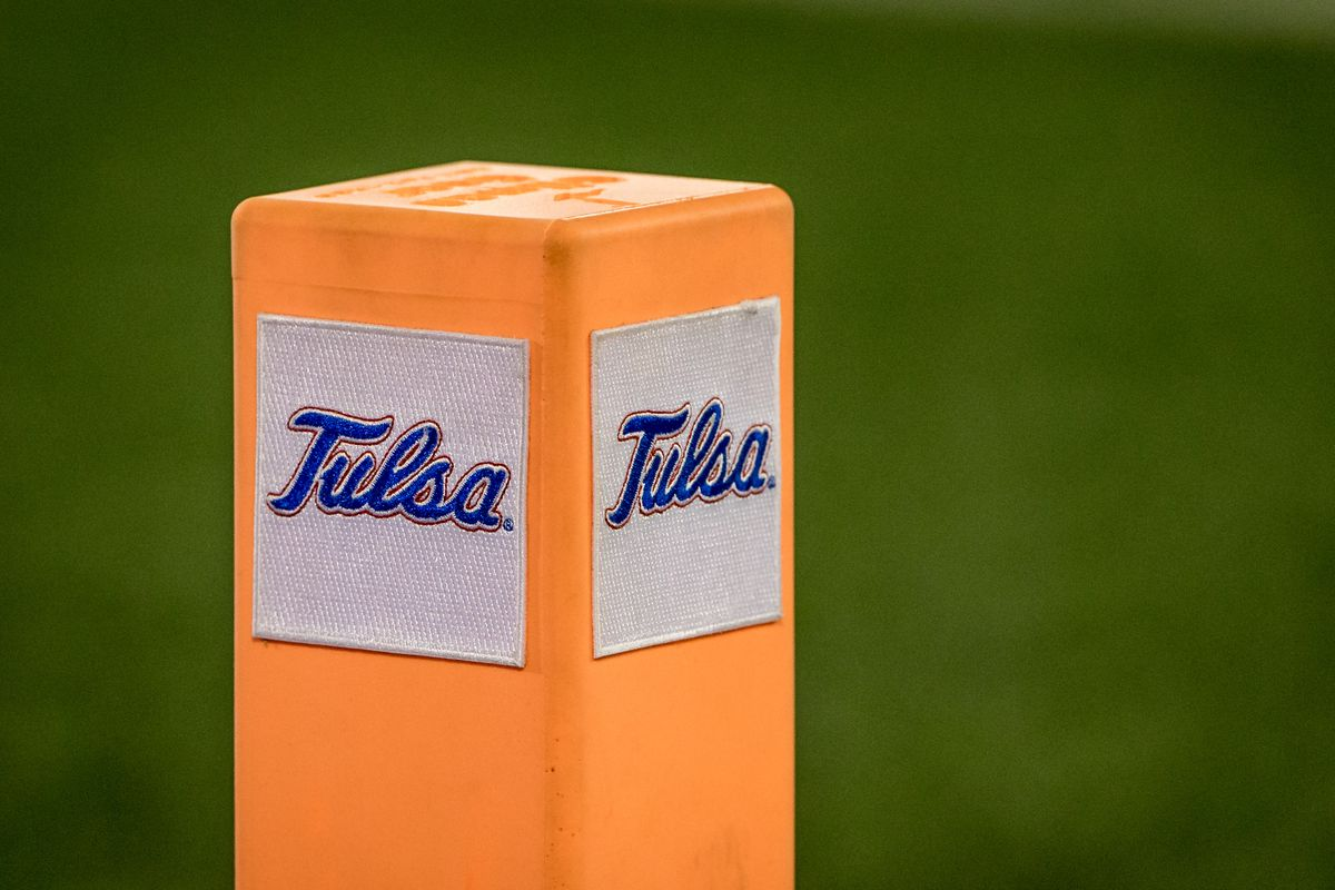 Tulsa goal post marker during the game against the Southern Methodist Mustangs at H.A Chapman Stadium in Tulsa, Ok.