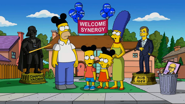The Simpson family welcomes its new corporate overlords at the Walt Disney Company.