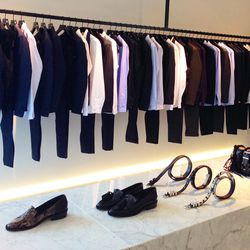 All men's suiting features Savile Row tailoring. Full suits start at approximately $1000.