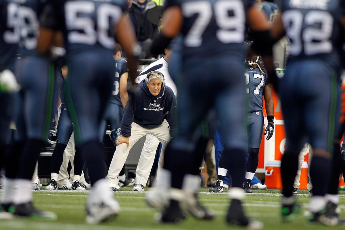 SEATTLE - OCTOBER 30:  Head coach Pete Carroll of the Seattle Seahawks watches the game against  the Cincinnati Bengals on October 30, 2011 at Century Link Field in Seattle, Washington.  (Photo by Jonathan Ferrey/Getty Images)